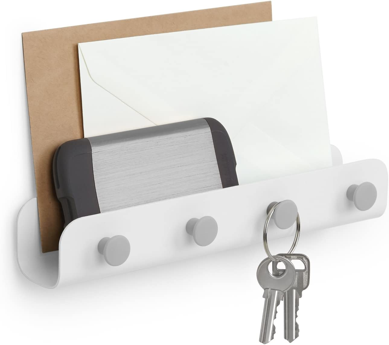 Phones and Chargers Made of Steel Mail Great for Storing Keys Umbra Yook Organizer White//Gray Compact Organizer with Hooks Wallets