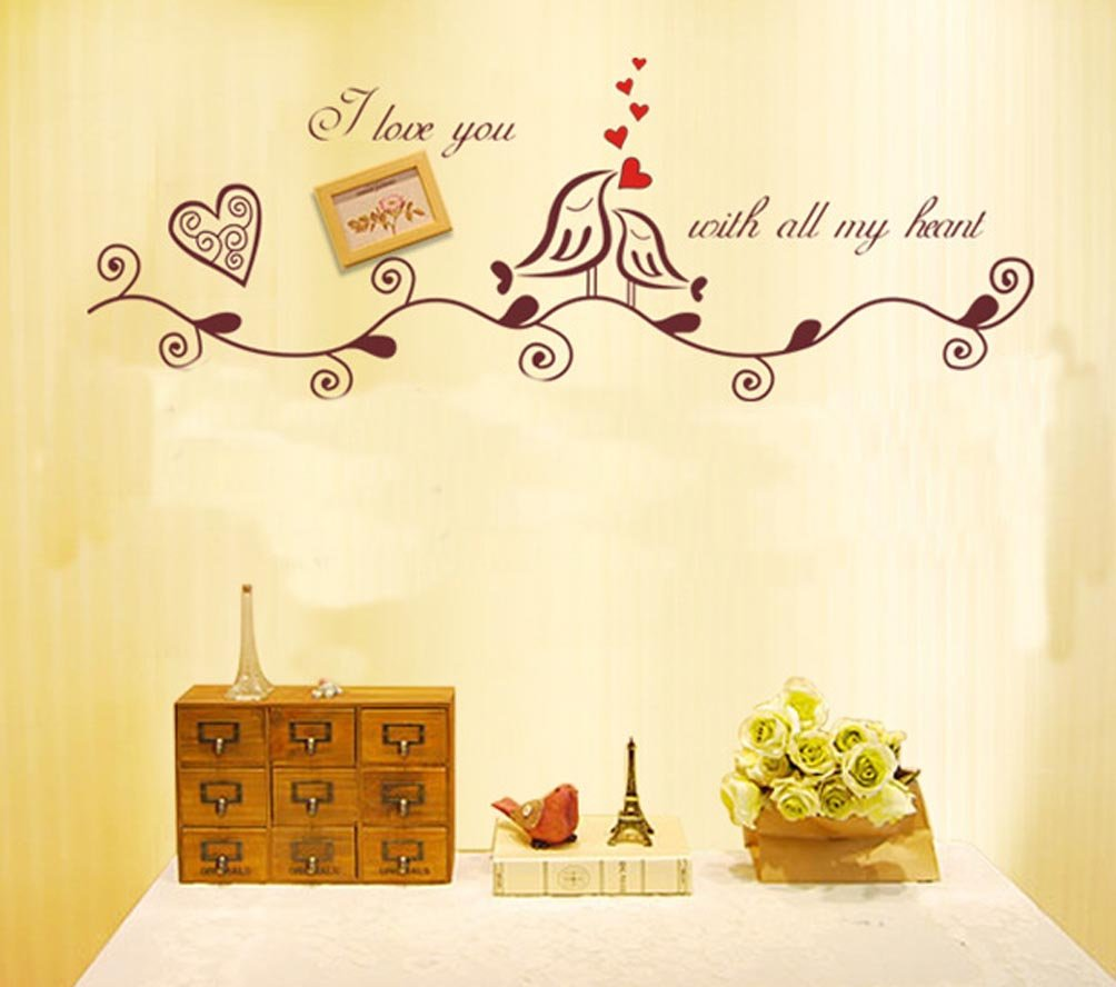 Amazon.com: BIBITIME Brown Vines Hearts Couple Birds Wall Decal ...