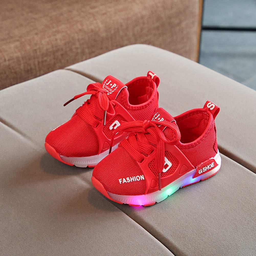 Alamana Fashion Lovely Kids Girls Boys LED Light Sneaker Sport Anti-Slip Casual Shoes Red 23