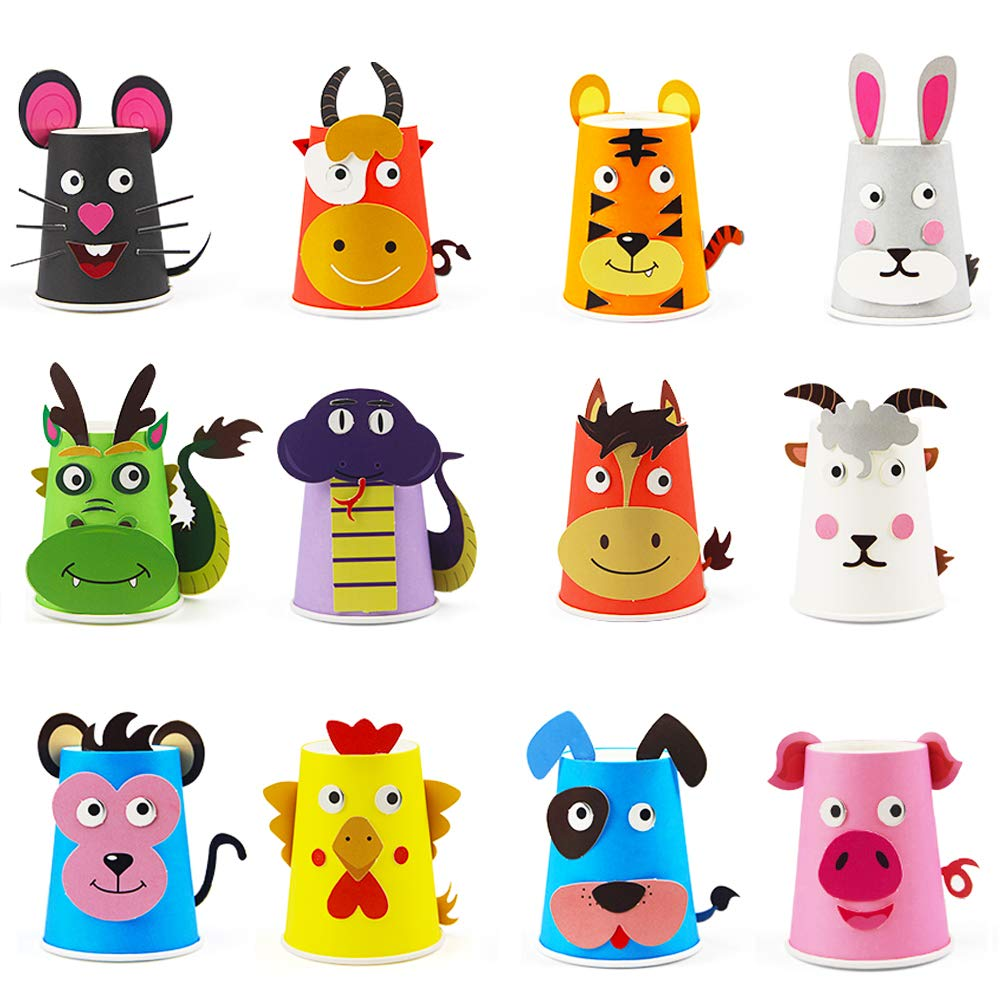 Here Fashion Paper Crafts and Arts Kit 12 Pack Zodiac Preschool Crafts Toys for Toddler Kids