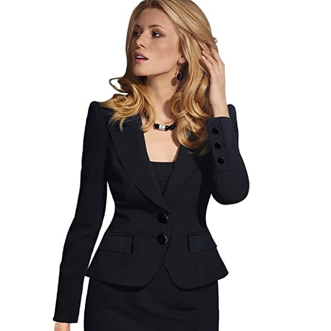 3208405ae6d Coolred-Women Plus Size Business Solid Colored Silm Fit Casual Coats Suit  Black L