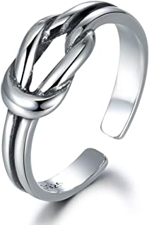 LYTOPOP, anello da pollice regolabile in argento Sterling 925, con nodo del marinaio, simbolo di amore eterno