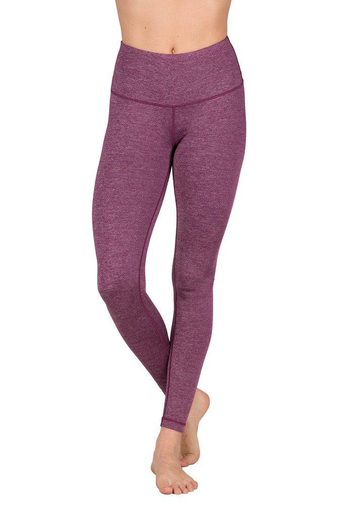 90 Degree By Reflex High Waist Power Flex Legging - Tummy Control - Heather Dark Berry - XS by 90 Degree By Reflex