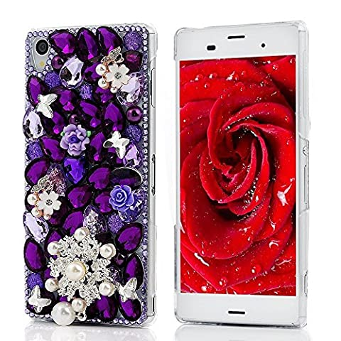 Spritech(TM) Luxury Purple Full Diamond Design with Crystal Pearl Beautiful Bling Flower Hard Caver Case for Sony Xperia Z3 - Diamante Perla Stud