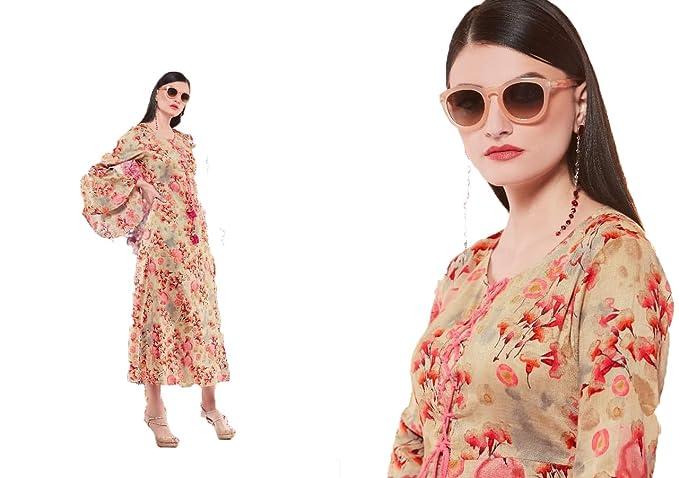 e13f1574d92 Ladies N Linen Women s Beige Rayon Frock Style Kurta XXL  Amazon.in ...