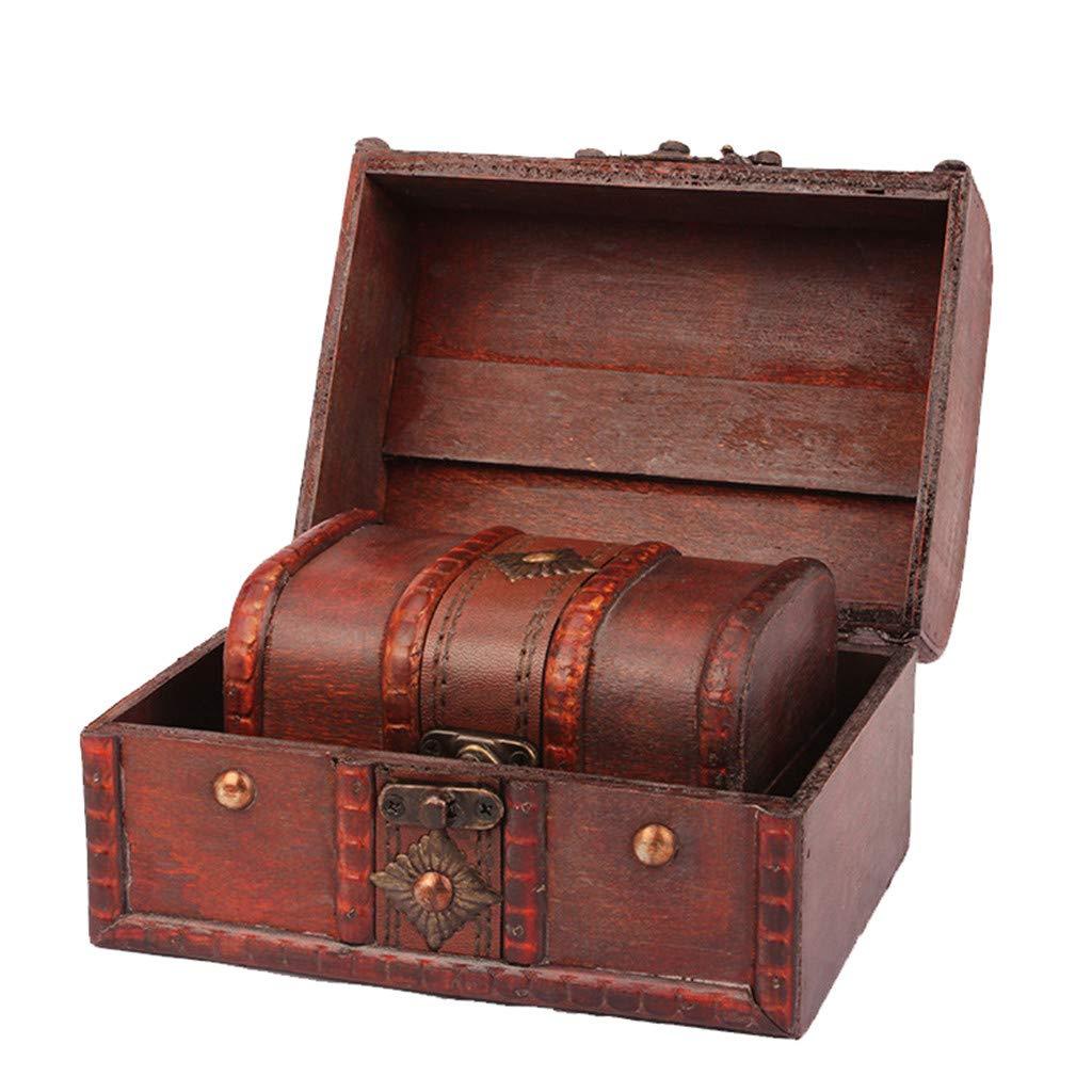 Cofre del Tesoro con candado,Cofre del Tesoro,ZARLLE Caja de Madera Cofre del Tesoro Pirata de Estilo Vintage | Hecha a Mano | Diseño Retro |