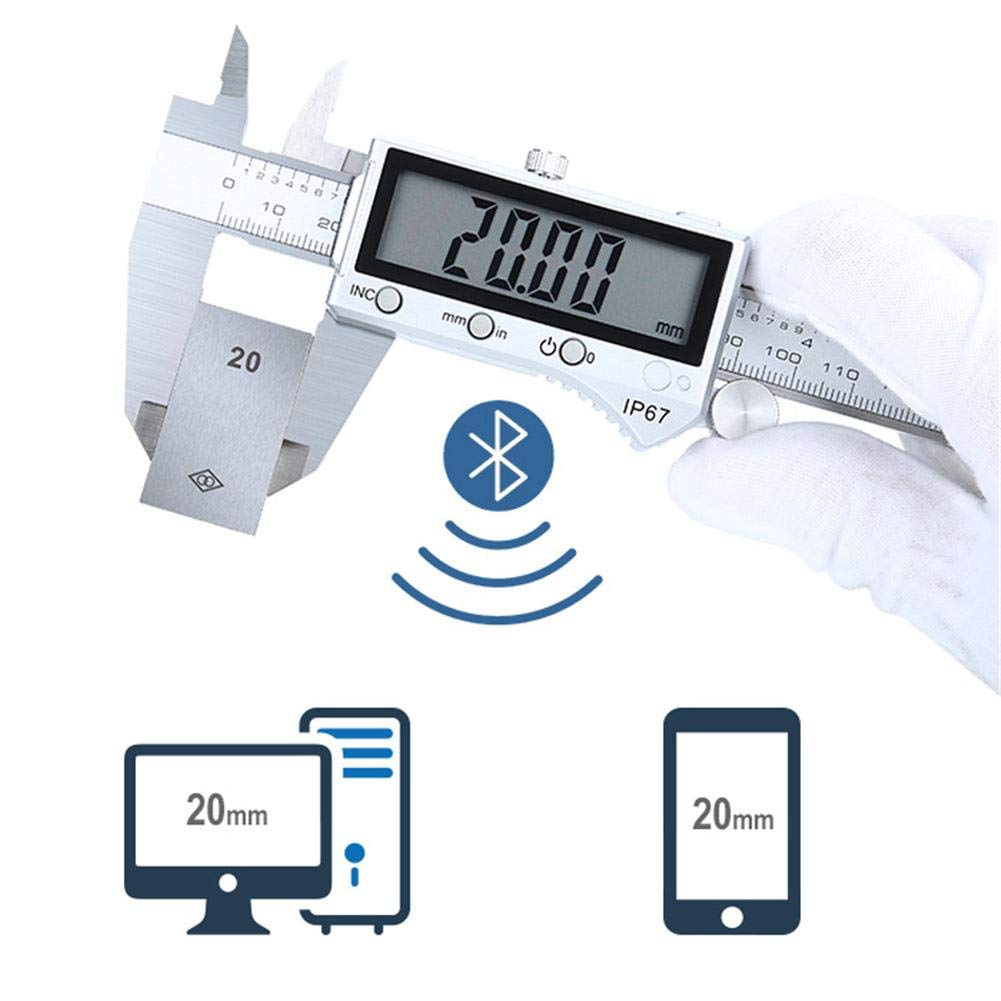 IrahdBowen Electronic Digital Vernier Caliper High Type IP67 Bluetooth Waterproof 0-150MM Stainless Steel LCD Digital Caliper Stainless Steel Electronic Digital Vernier Caliper