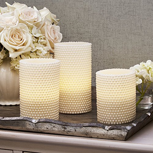 Decorative Textured Flameless Candles Set with Remote, Flickering Pearl Candle by LampLust, 4/8 Hr Timer, Real Wax, White LED Glow, Indoor use - Set of 3 (Renewed)