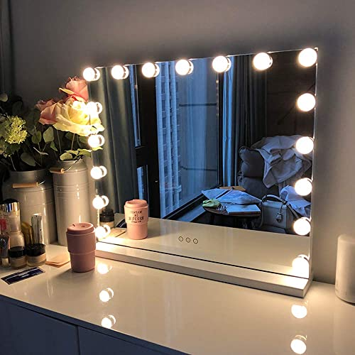 FENCHILIN Large Vanity Mirror with Lights, Hollywood Lighted Makeup Mirror with 14 Dimmable LED Bulbs for Dressing Room Bedroom, Tabletop or Wall-Mounted, Slim Metal Frame Design, White