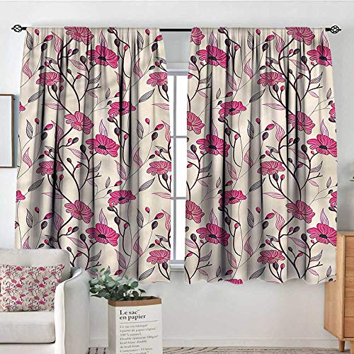 (Anzhutwelve Pale Pink,Rod Curtains Shabby Chic Blossoms 104