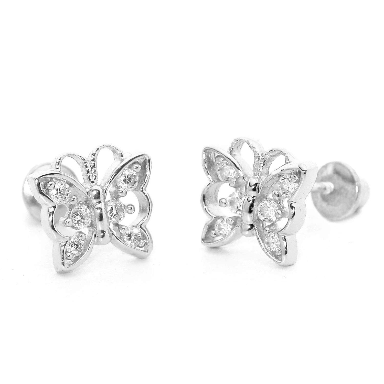 14K White Gold Plated Cubic Zirconia Studs Round Simulated Diamond Mini Butterfly Stud Earrings for Women Girl Summer Sale