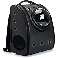 WowowMeow Cat Travel Bubble Backpack Pet Leather Carrier Bag for Cats Puppies (Black)