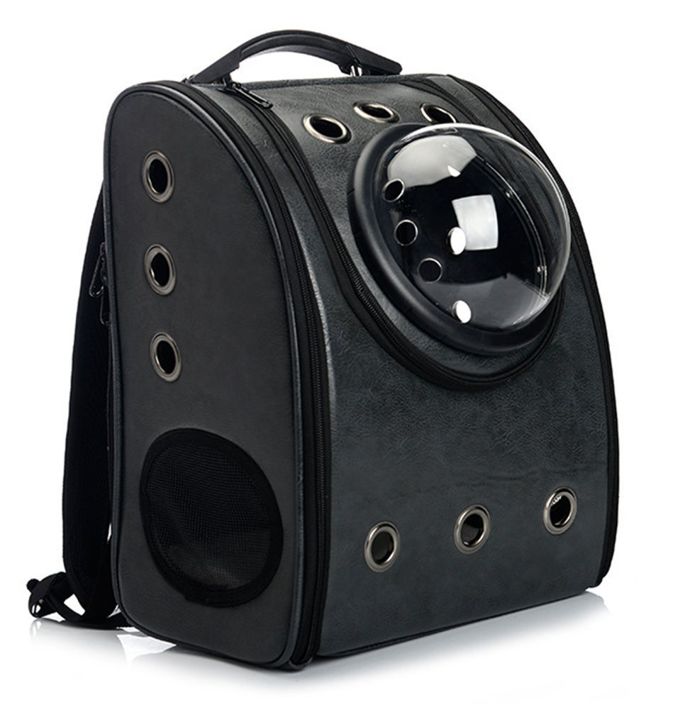 Black WowowMeow Cat Travel Bubble Backpack Pet Leather Carrier Bag for Cats Puppies (Black)