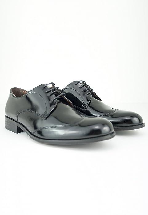 zapattu Baerchi - Zapato Blucher de Vestir de Piel - Negro, 42