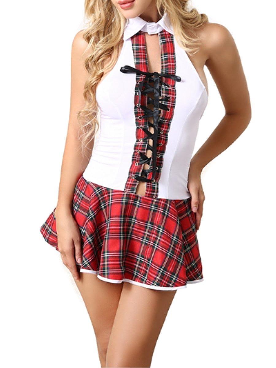 Amazon.com: ANJAYLIA - Disfraz de colegiala de lencería con ...