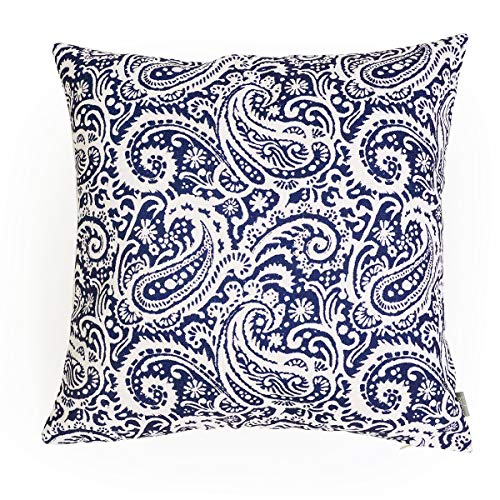 baibu Paisley Cushion Cover, Decorative Throw Pillow Cushions Covers Sham Cushion Case 1PC (Navy Blue, - Paisley Blue Pillow