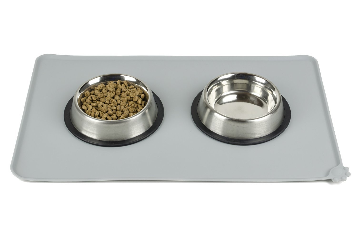 Tinkle ONE Silicone Pet Feeding Mat Waterproof Non-Slip Pet Food Bowl Mat Feeding Tray for Cats and Dogs (Grey )