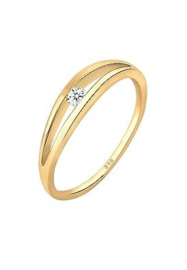 Bague en or jaune pour Femme de 14 carats avec diamants (585/1000)