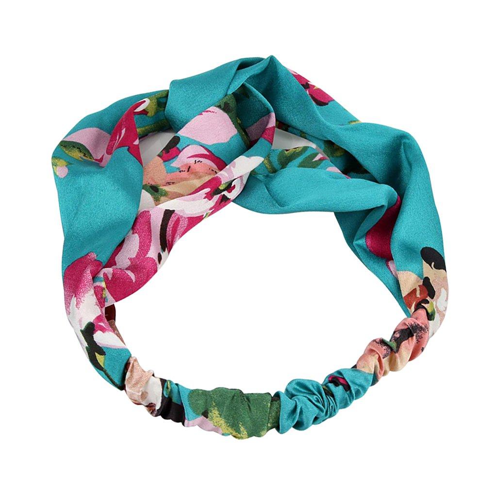 Republe Crossed Widen femmes Gilr imprimé floral Bandeau Headwrap satin Hairband Couvre-chef beaux cheveux Hoop Tie