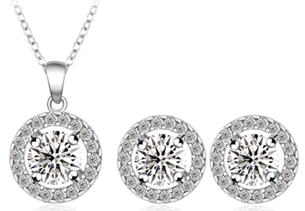 Richy-Glory Jewelry Set Platinum Plated Zirconia Pendant//Earrings Set
