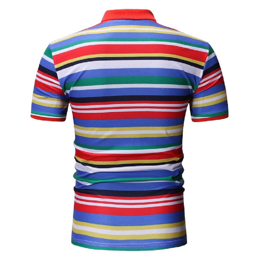 BAYY Mens Short Sleeve Lapel Collar Ombre Stripes Printed Comfy Polo Shirt