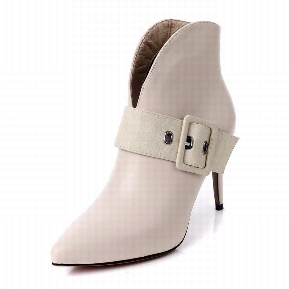 HYW Herbst und Winter Wies Gürtelschnalle Seite Reißverschluss Stiletto Stiefel mit mit Stiefel Leder Stiefel Frauen Leder 073812