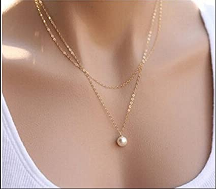 Buy its new elegant double layer chain alloy imitation pearl its new elegant double layer chain alloy imitation pearl pendant necklace mozeypictures Gallery