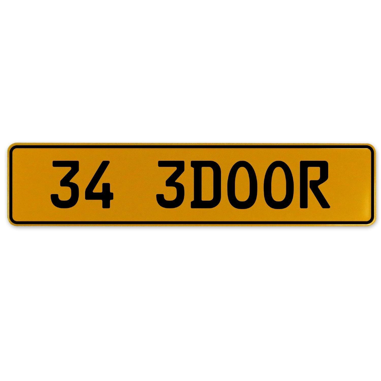 Vintage Parts 563047 34 3DOOR Yellow Stamped Aluminum European Plate