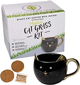 Perfect Plants Cat Grass Mug Kit | Pet Grass Kit | Organic Ingredients | Seeds Grown in The USA (Bengal Black)