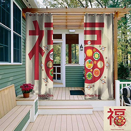 (Chinese New Year, Outdoor Curtain Pair, Festive Lunar Dinner Table Full of Traditional Food for The Family Reunion, for Patio W84 x L108 Inch Multicolor)