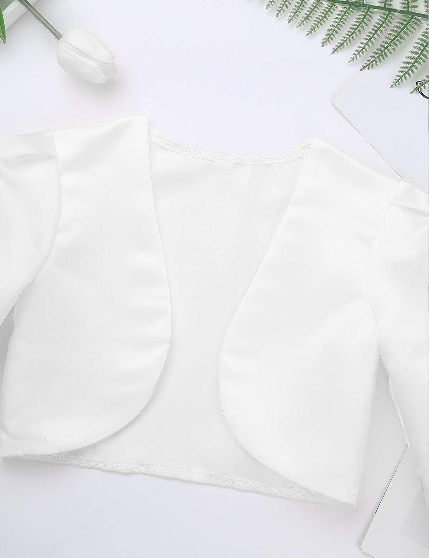 YiZYiF Bolero in Raso Elegante Manica Lunga Cardigan per Cerimonia Comunione Sottile Manica Corta Coprispalle per Abito da Sera Matrimonio Copertina Giacca Corto Sposa