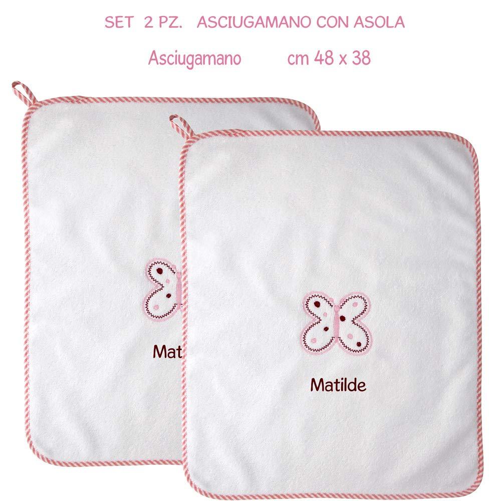 Coccole - Toalla con tira con nombre personalizado y estampada con una mariposa rosa - Ideal para guardería, educación infantil.