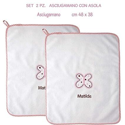 Coccole - Toalla con tira con nombre personalizado y estampada con una mariposa rosa - Ideal