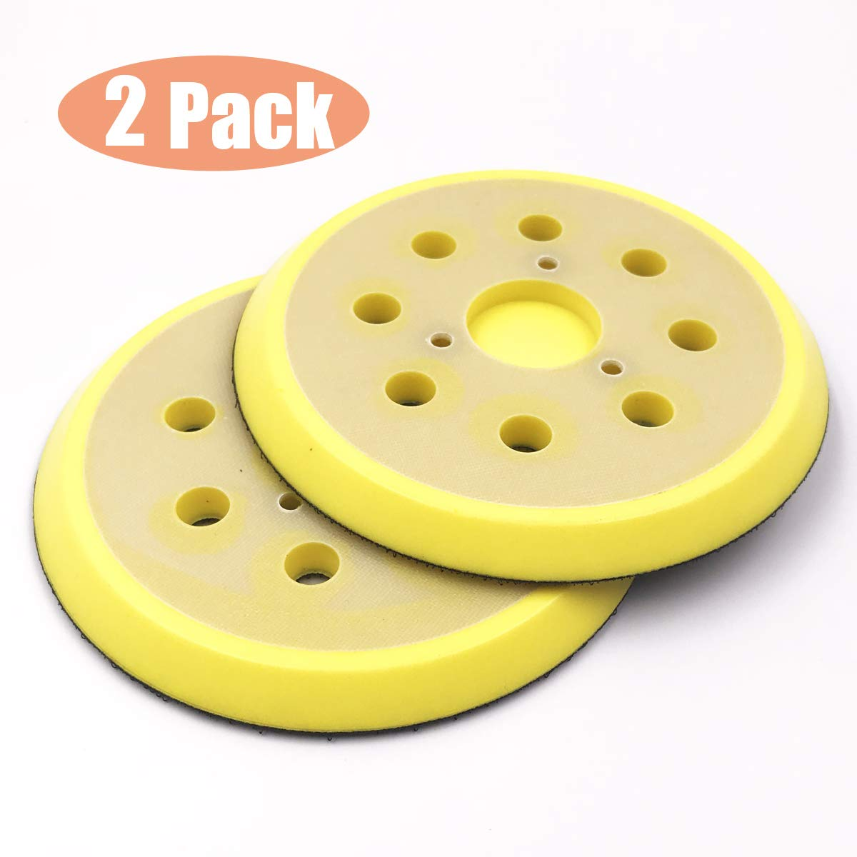 Huayao 2pcs 5'' Dia (125mm) Sander Backing Pad & Polisher, 8 Hole Sander Hook and Loop Pad Replaces Angle Grinder Scouring Pad for Sanding Finishing Polishing Buffing by HuaYao