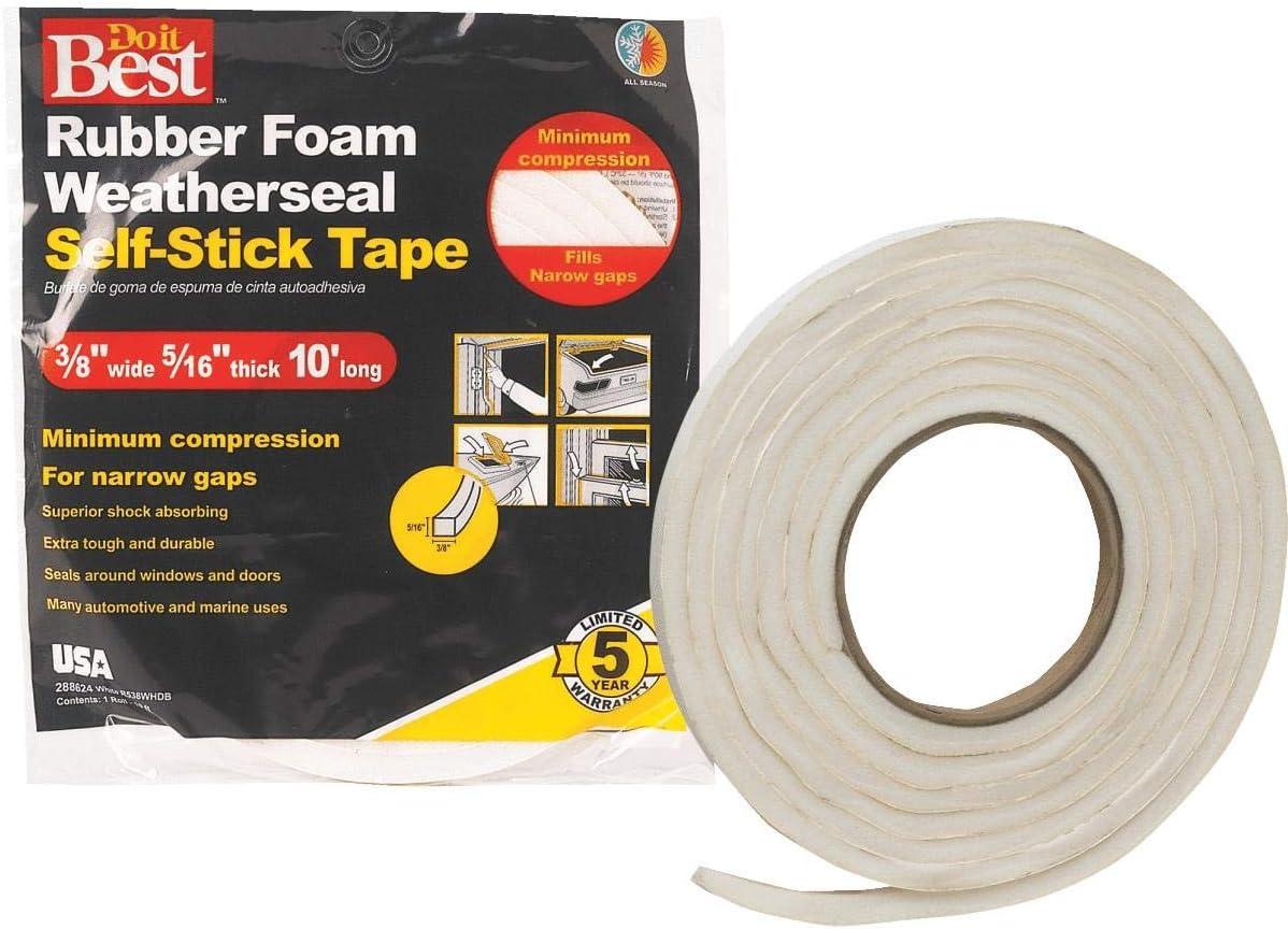 27 Foam Tape Weatherstripping Rolls Bulk Closed Cell Foam Tape Weatherstripping AM Conservation P242 1//4H x 3//8W x 17L Rolls