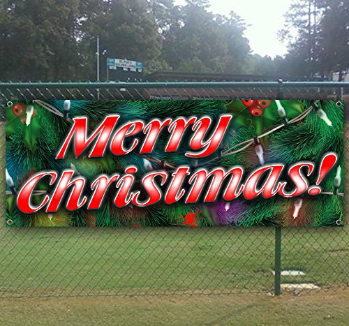 Merry Christmas 1 13 oz heavy duty vinyl banner with 4 grommets (Cheap Banner)