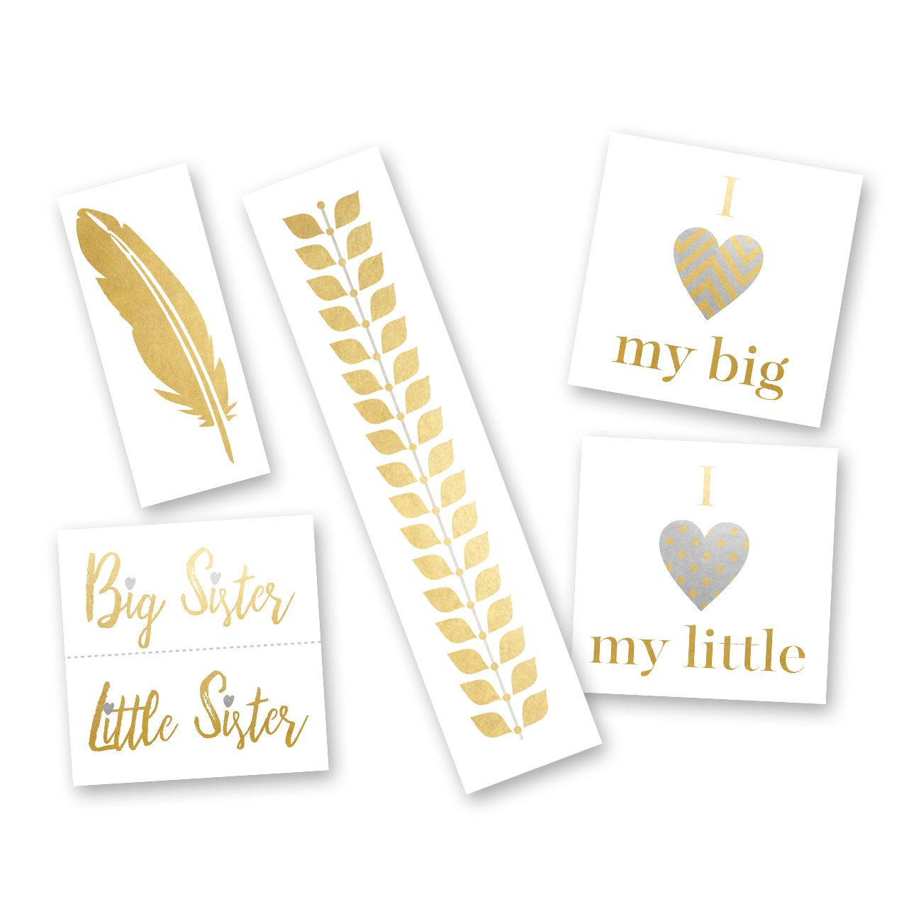 SORORITY SISTERS VARIETY SET Flash Tattoos set of 25 assorted premium waterproof metallic gold and silver jewelry temporary foil Greek party tattoos, sorority, metallic tattoo ,