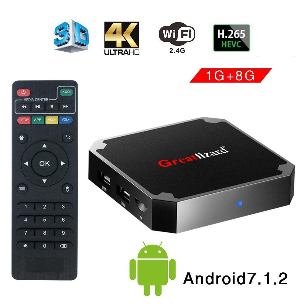 Greatlizard Android 7.1.2 X96 Mini TV Box Quad Core 2.4G Wifi 4K HD Supporto VP9 HEVC Decodifica(1GB Ddr3 + 8GB EMMC)