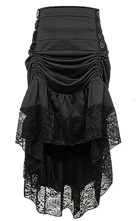 db5f66ff93 Killreal Women's Steampunk Victorian Gothic High Waist Lace Trim Ruffled High  Low Cyberpunk Skirt Black Small