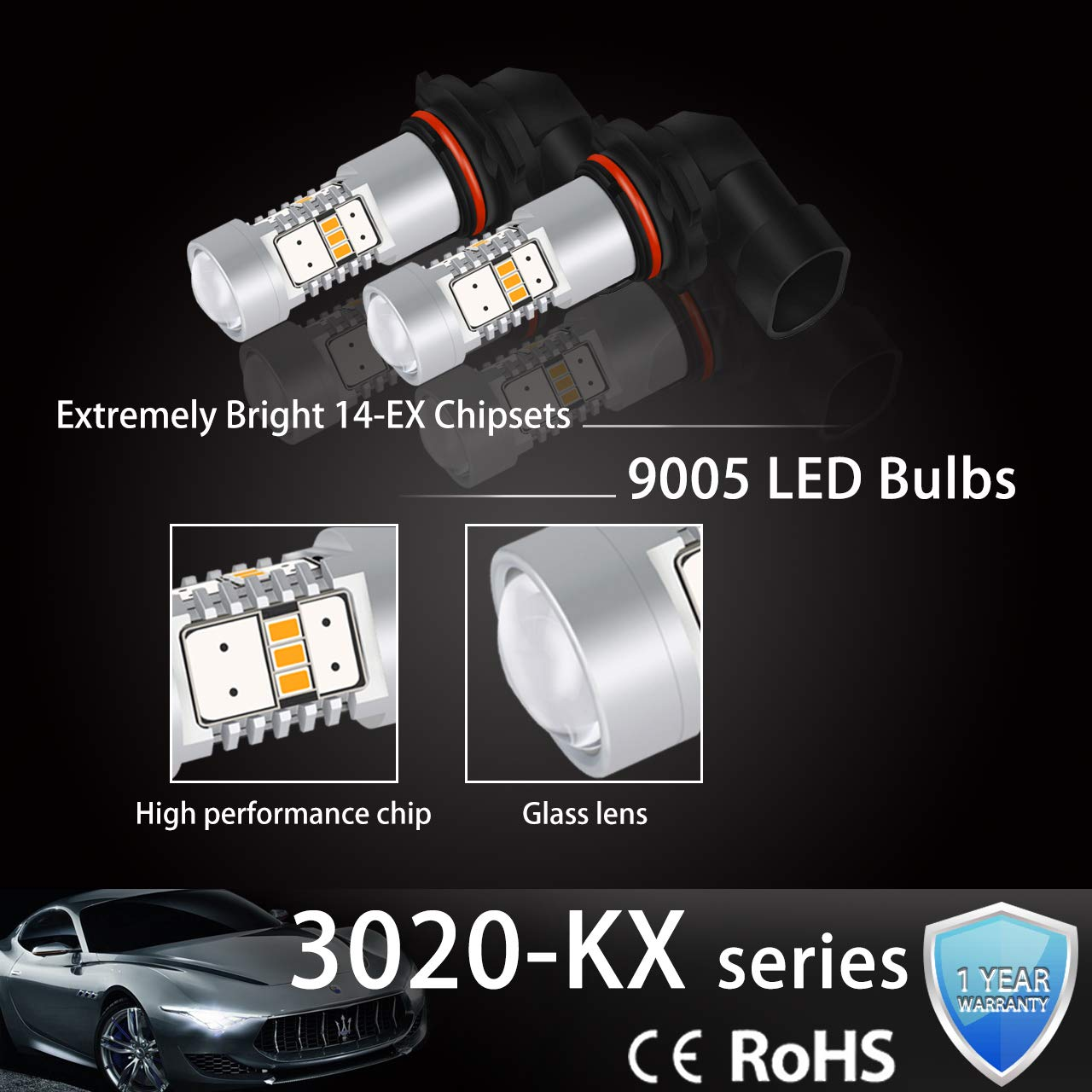 2-Pack NGCAT 1800 Lumens 10 SMD 3020 CREE T15 921 912 T10 W16W LED Bulbs Used for Automobile Exterior Reverse Light,DC 10-16V Halogen Yellow