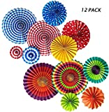 12 Pack of Wedding Hanging Fiesta Paper Fan Decoration,Party Supplies Favors Colors Hanging Decoration
