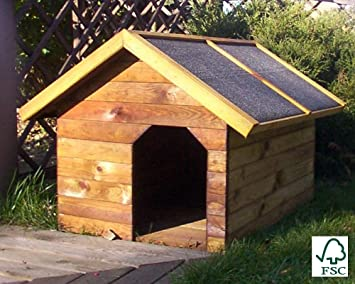 ITALFROM Caseta para Perro de Madera de Pino Silvestre - italfromdog02 - cm 60 x 90 x 67H: Amazon.es: Productos para mascotas