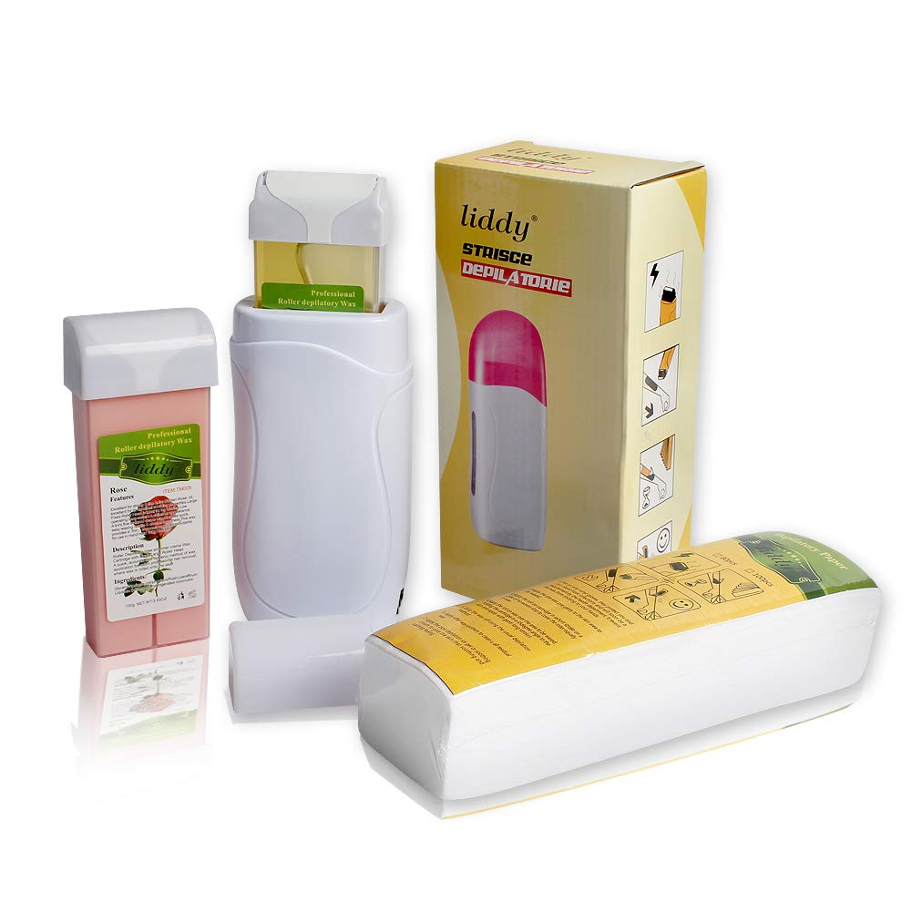 LIDDY Depilatory Roll on Wax Heater Roller Warmer Cartridge Strips Hair Removal Kit (1 Depilatory Heater & 2 Wax & 100 Paper)
