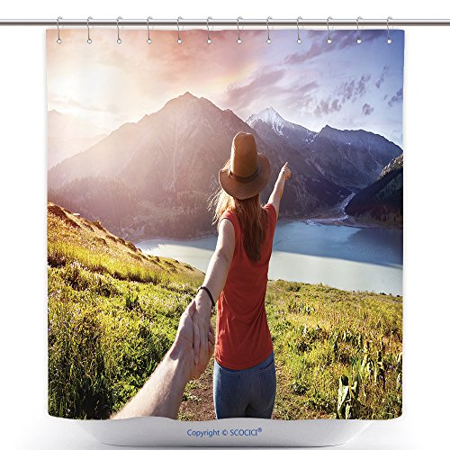 Man In The Yellow Hat Costume Ebay (Durable Shower Curtains Woman In Orange T Shirt And Hat Holding Man By Hand And Going To The Lake In The Mountains At 453985453 Polyester Bathroom Shower Curtain Set With Hooks)