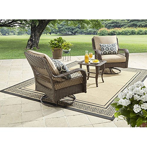 Better Homes and Gardens Colebrook 3-Piece Outdoor Chat Set, Seats (Cottage Wicker Furniture)