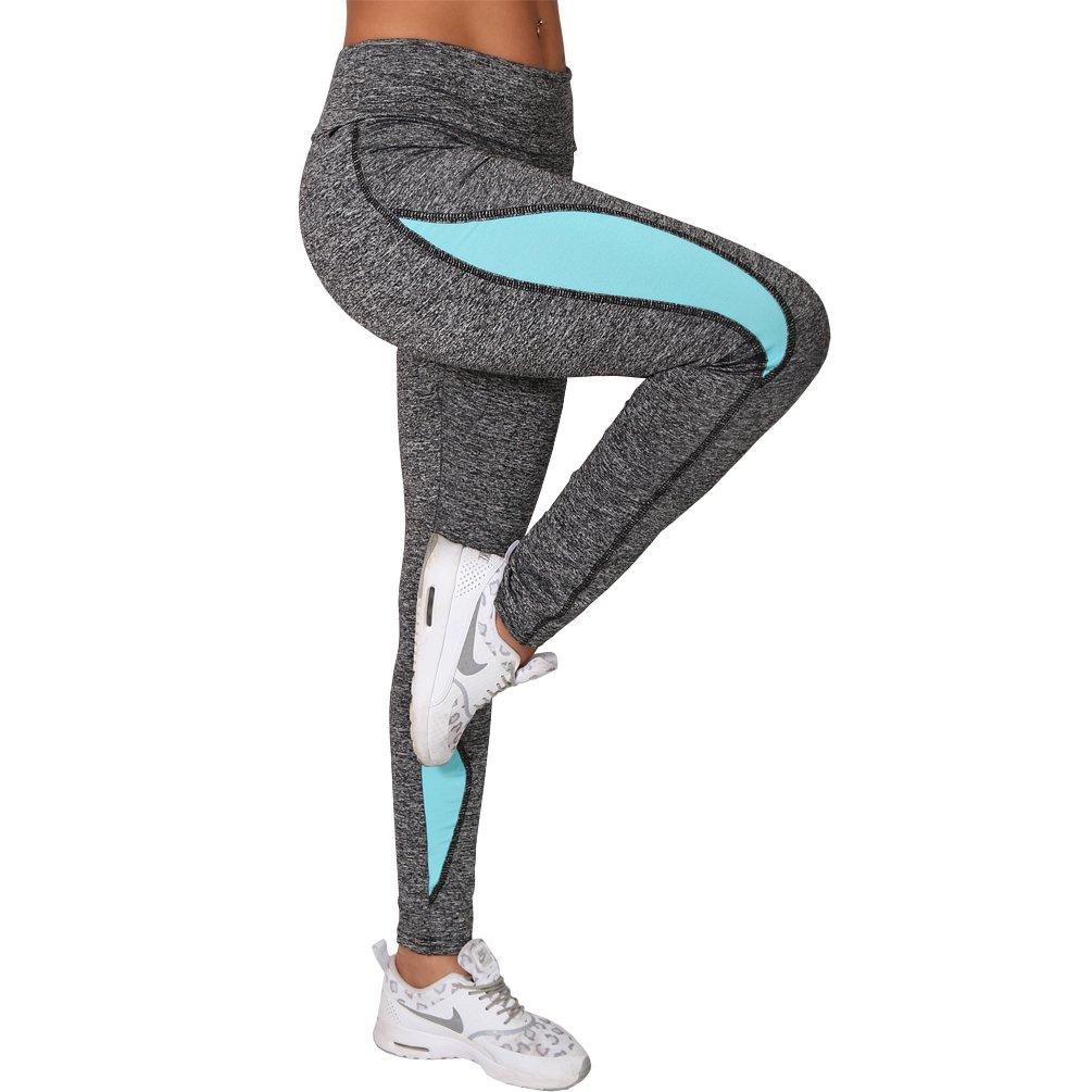 Damen Neon Leggings Stretch Sport Laufhose Fitness Yoga Gymnastik Leggins Grau