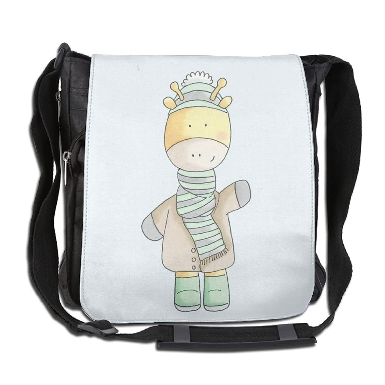 A Giraffe In Clothes Custom Unisex Polyester Fiber Messenger Bag Cross-Body Bag Daypack Bag