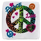 13 Inch 6-Sided Cube Ottoman Peace Love Rainbow Peace Symbol