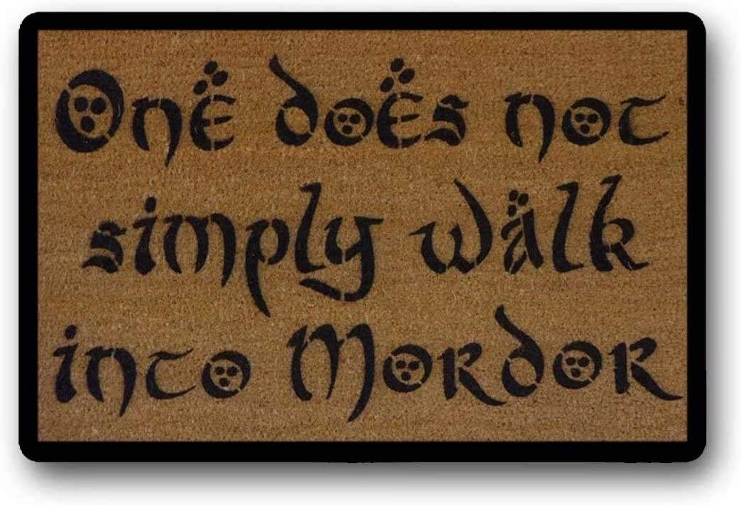 BXBCASEHOMEMAT My Door Mordor Jrr Tolkien Quote One Does Not Simply Walk Into Mordor Middle Earth Boromir Geek Nerd Nerdy Gifts Doormat Eco Friendly 18