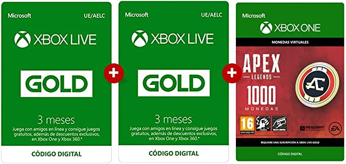 Suscripción Xbox Live Gold 3 Meses + 3 Meses + Apex 1000 Coins ...